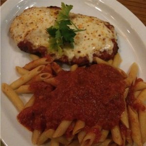 Veal parmigiana and penne pasta