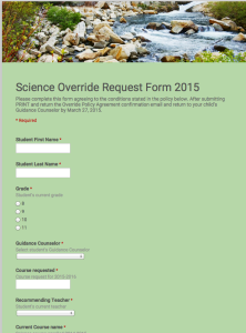 The Science Override Form